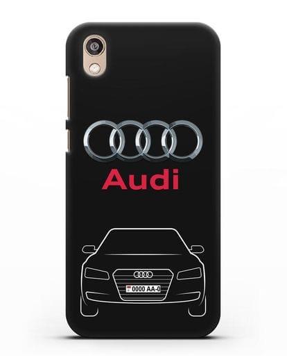 Чехол Audi A8 с номерным знаком силикон черный для Honor 8S Prime