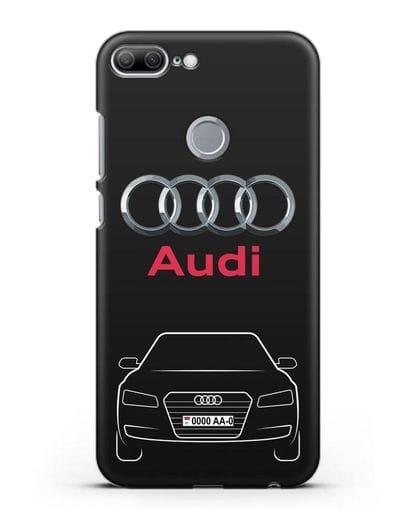 Чехол Audi A8 с номерным знаком силикон черный для Honor 9 Lite