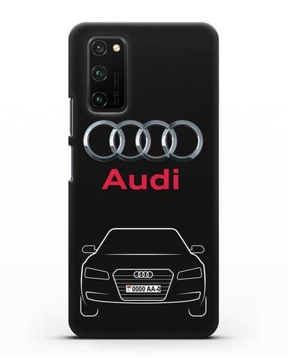 Чехол Audi A8 с номерным знаком силикон черный для Honor View 30 Pro