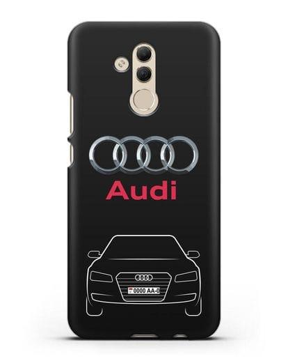 Чехол Audi A8 с номерным знаком силикон черный для Huawei Mate 20 Lite