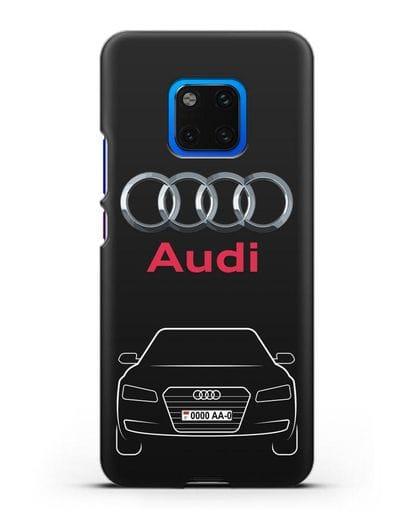 Чехол Audi A8 с номерным знаком силикон черный для Huawei Mate 20 Pro