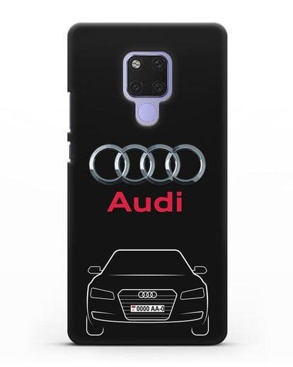 Чехол Audi A8 с номерным знаком силикон черный для Huawei Mate 20X
