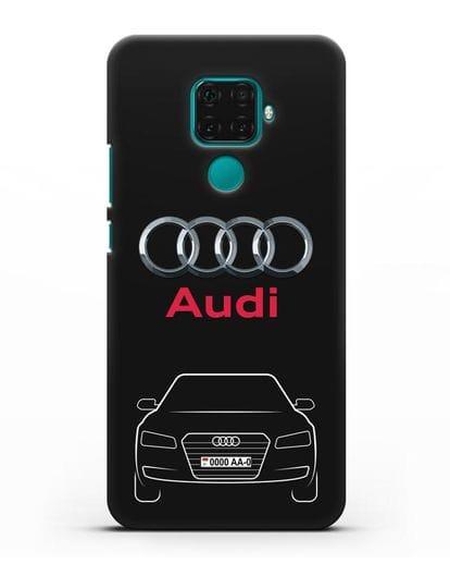 Чехол Audi A8 с номерным знаком силикон черный для Huawei Mate 30 Lite