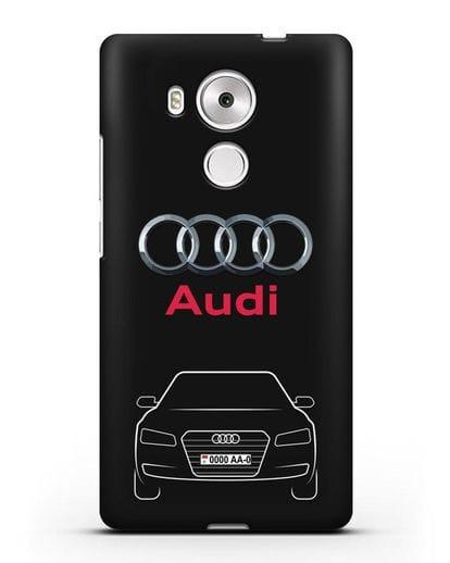 Чехол Audi A8 с номерным знаком силикон черный для Huawei Mate 8