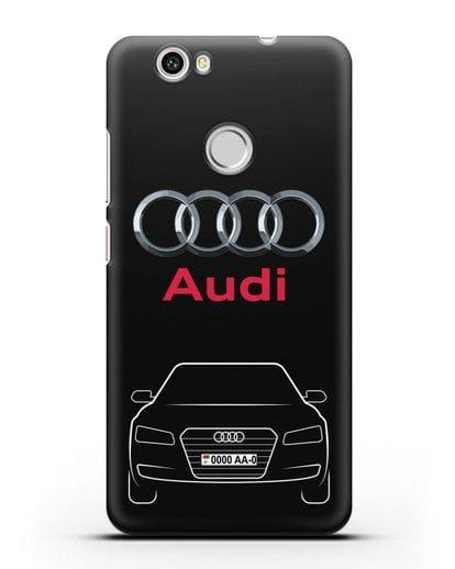 Чехол Audi A8 с номерным знаком силикон черный для Huawei Nova