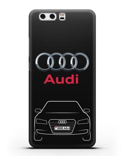 Чехол Audi A8 с номерным знаком силикон черный для Huawei P10