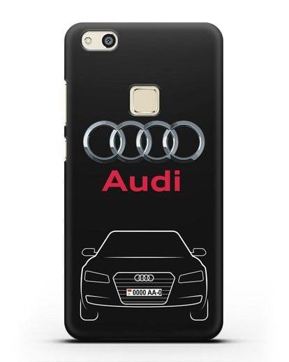 Чехол Audi A8 с номерным знаком силикон черный для Huawei P10 Lite