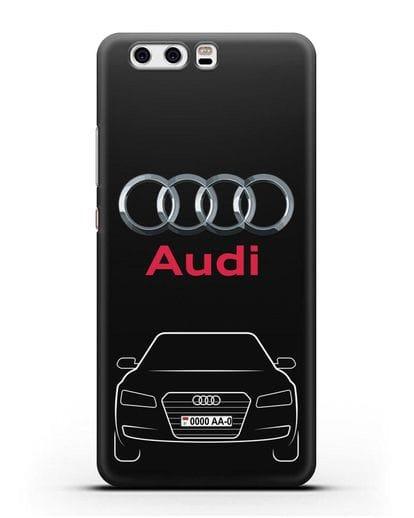 Чехол Audi A8 с номерным знаком силикон черный для Huawei P10 Plus