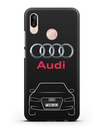 Чехол Audi A8 с номерным знаком силикон черный для Huawei P20 Lite