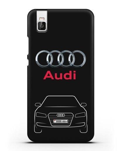 Чехол Audi A8 с номерным знаком силикон черный для Huawei Shot X