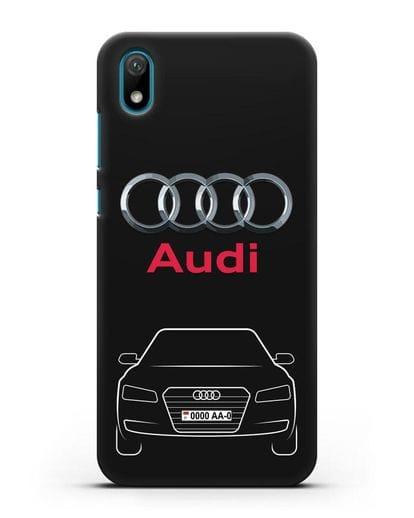 Чехол Audi A8 с номерным знаком силикон черный для Huawei Y5 2019