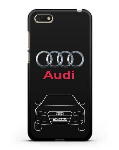 Чехол Audi A8 с номерным знаком силикон черный для Huawei Y5 Prime 2018