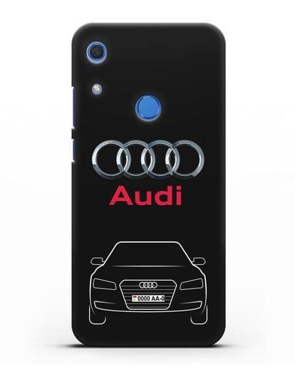 Чехол Audi A8 с номерным знаком силикон черный для Huawei Y6s