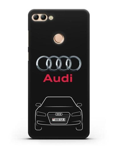 Чехол Audi A8 с номерным знаком силикон черный для Huawei Y9 2018