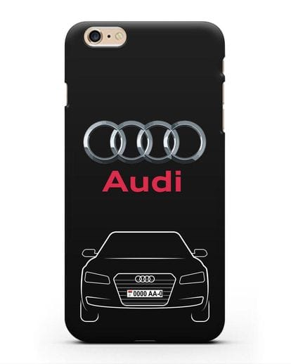 Чехол Audi A8 с номерным знаком силикон черный для iPhone 6s Plus