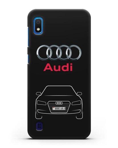 Чехол Audi A8 с номерным знаком силикон черный для Samsung Galaxy A10 [SM-A105F]