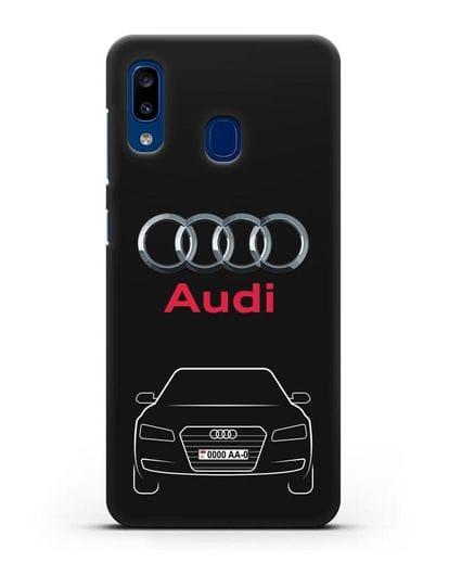 Чехол Audi A8 с номерным знаком силикон черный для Samsung Galaxy A20 [SM-A205FN]