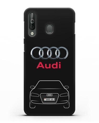 Чехол Audi A8 с номерным знаком силикон черный для Samsung Galaxy A40s [SM-A507FN]