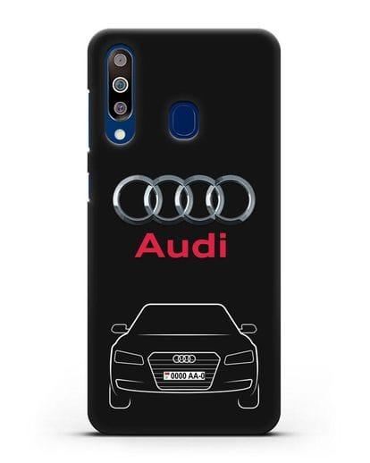 Чехол Audi A8 с номерным знаком силикон черный для Samsung Galaxy A60 [SM-A606F]
