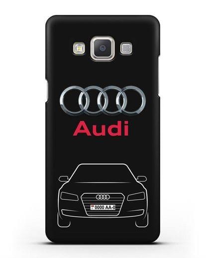 Чехол Audi A8 с номерным знаком силикон черный для Samsung Galaxy A7 2015 [SM-A700F]