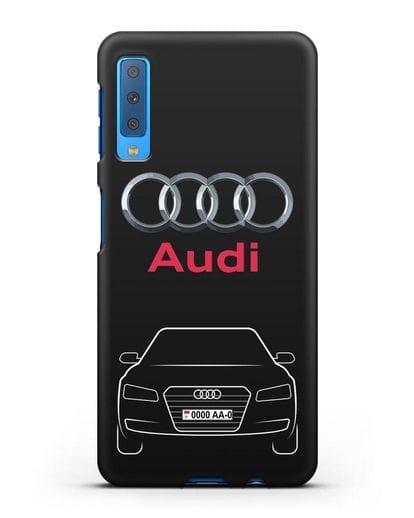 Чехол Audi A8 с номерным знаком силикон черный для Samsung Galaxy A7 2018 [SM-A750F]