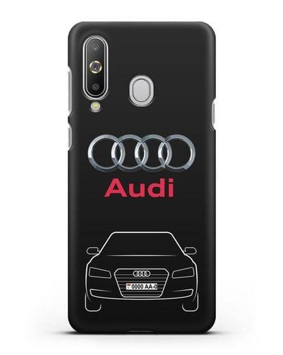 Чехол Audi A8 с номерным знаком силикон черный для Samsung Galaxy A8s [SM-G8870]