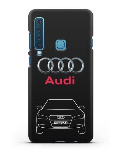 Чехол Audi A8 с номерным знаком силикон черный для Samsung Galaxy A9 (2018) [SM-A920]