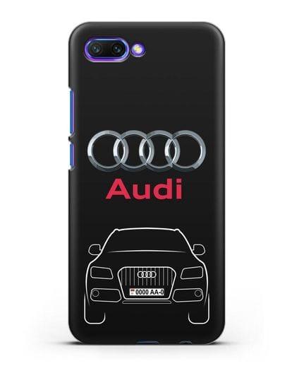 Чехол Audi Q5 с номерным знаком силикон черный для Honor 10