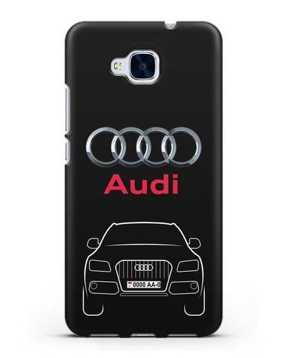 Чехол Audi Q5 с номерным знаком силикон черный для Honor 5C