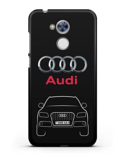 Чехол Audi Q5 с номерным знаком силикон черный для Honor 6A