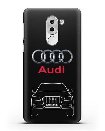 Чехол Audi Q5 с номерным знаком силикон черный для Honor 6X