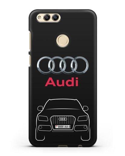 Чехол Audi Q5 с номерным знаком силикон черный для Honor 7X