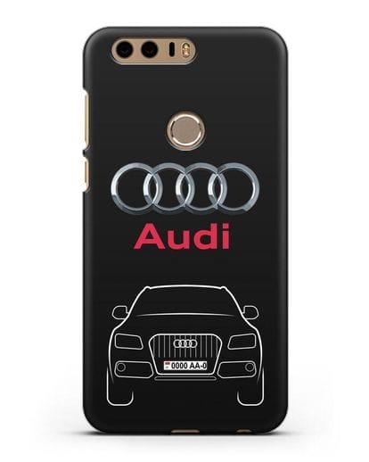 Чехол Audi Q5 с номерным знаком силикон черный для Honor 8