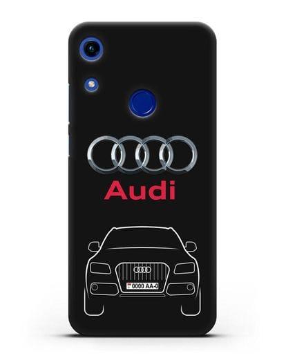 Чехол Audi Q5 с номерным знаком силикон черный для Honor 8A