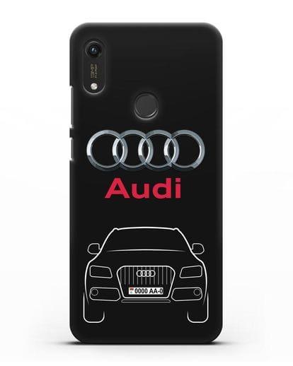 Чехол Audi Q5 с номерным знаком силикон черный для Honor 8A Prime