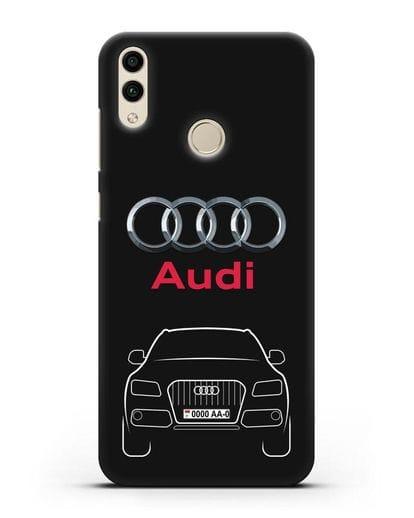 Чехол Audi Q5 с номерным знаком силикон черный для Honor 8C