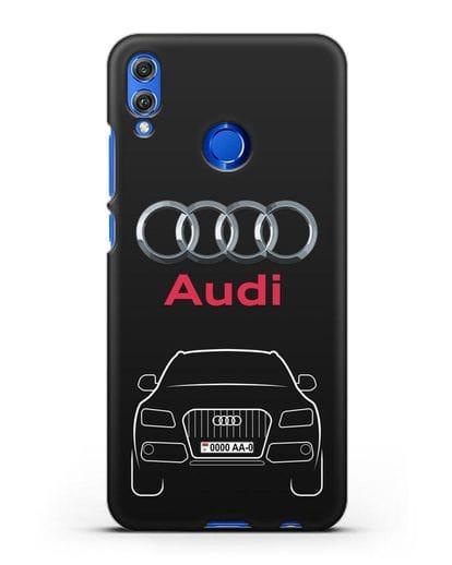 Чехол Audi Q5 с номерным знаком силикон черный для Honor 8X