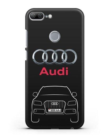 Чехол Audi Q5 с номерным знаком силикон черный для Honor 9 Lite