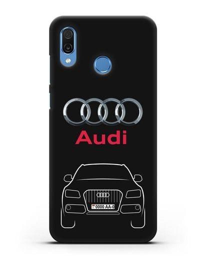 Чехол Audi Q5 с номерным знаком силикон черный для Honor Play