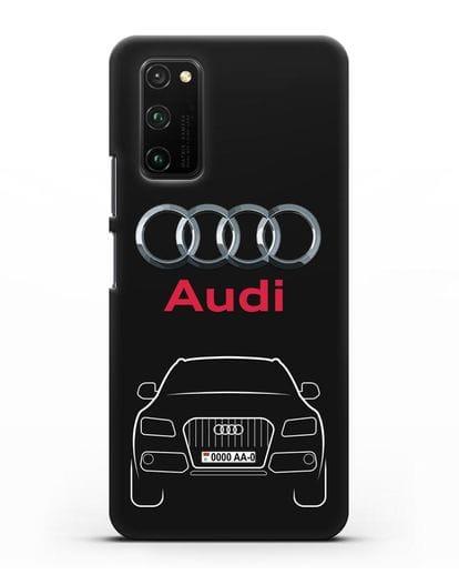 Чехол Audi Q5 с номерным знаком силикон черный для Honor View 30 Pro