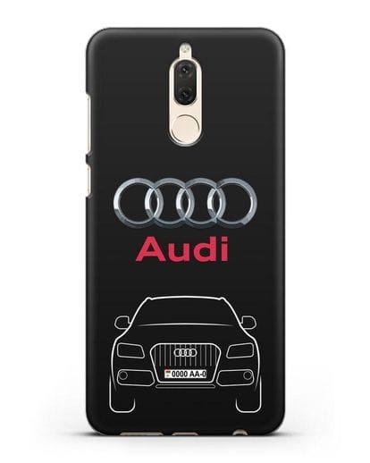 Чехол Audi Q5 с номерным знаком силикон черный для Huawei Mate 10 Lite
