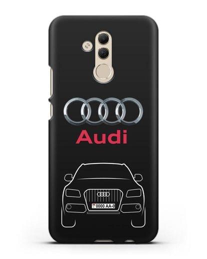 Чехол Audi Q5 с номерным знаком силикон черный для Huawei Mate 20 Lite