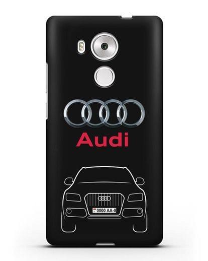Чехол Audi Q5 с номерным знаком силикон черный для Huawei Mate 8