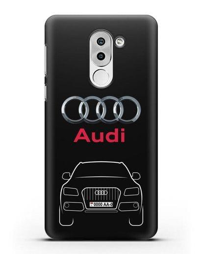 Чехол Audi Q5 с номерным знаком силикон черный для Huawei Mate 9 Lite