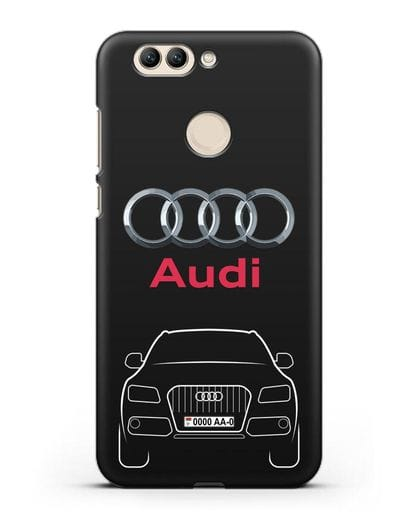 Чехол Audi Q5 с номерным знаком силикон черный для Huawei Nova 2 Plus
