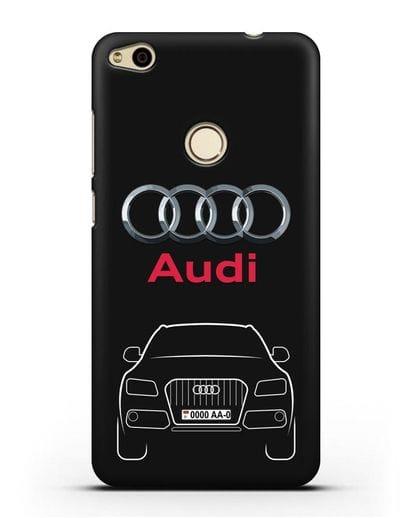 Чехол Audi Q5 с номерным знаком силикон черный для Huawei P8 Lite 2017