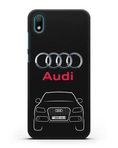 Чехол Audi Q5 с номерным знаком силикон черный для Huawei Y5 2019