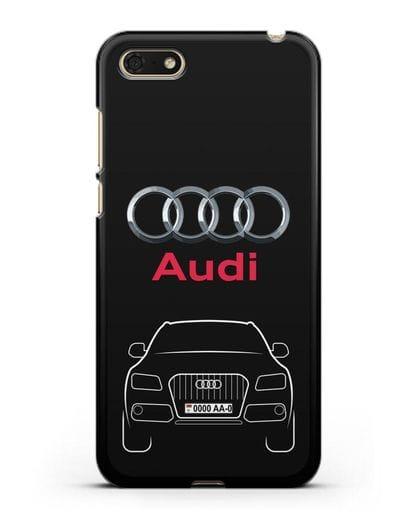 Чехол Audi Q5 с номерным знаком силикон черный для Huawei Y5 Prime 2018