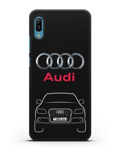 Чехол Audi Q5 с номерным знаком силикон черный для Huawei Y6 2019