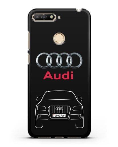 Чехол Audi Q5 с номерным знаком силикон черный для Huawei Y6 Prime 2018